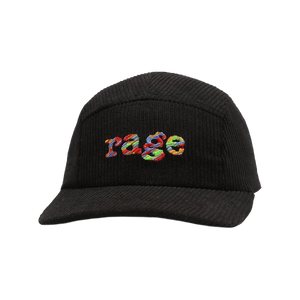 Rage Embroidered 5-Panel Corduroy Cap (Black)