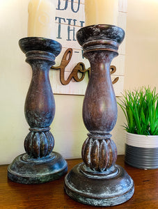 (SOLD) Gorgeous French-Famrhouse Aged/Whitewashed Wood Candleholders in Excellent Condition!! BEAUTIES!!