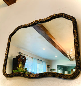 (SOLD) Gorgeous 1930s Black and Antique Gold French-Victorian Decorative Wall Mirror with Floral Design in Excellent Condition!!
