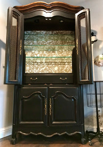 (SOLD) Gorgeous High-End Century Lighted French-Farmhouse inspired Display Cabinet/Storage/Hutch/Bar/China!! BEAUTY and CLASS!!