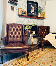 Load image into Gallery viewer, (SOLD) GORGEOUS Faux Leather Tufted Wingback Accent Chairs!! Perfect Decorative BEAUTIES indeed!! They are Versatile and will fit any Decor!!