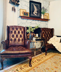 (SOLD) GORGEOUS Faux Leather Tufted Wingback Accent Chairs!! Perfect Decorative BEAUTIES indeed!! They are Versatile and will fit any Decor!!