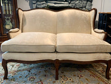 Load image into Gallery viewer, (SOLD) Gorgeous Vintage French Country Loveseat with Beautiful Dark Walnut Wood and Cream-Light Tan White Floral Satin Fabric in Superb Condition!!!
