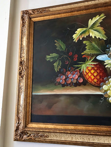 (SOLD) Gorgeous Vintage Oil Fruit Painting in Stunning French Wood Frame and Excellent Condition!! 52X32