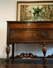 Load image into Gallery viewer, (SOLD) Gorgeous Vintage Jacobean Buffet/Media/Entryway/Sofa Table/Console with Beautiful Details and Wood Grain. Perfect Piece for Vintage Collector and Wood Lover!!
