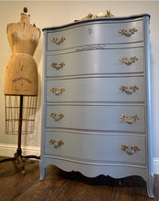 Load image into Gallery viewer, (SOLD) Beautiful and Newly ReDesigned 5Drawer French Country Modern Chest in GRAY!! Perfect All Purpose BEAUTY!!!