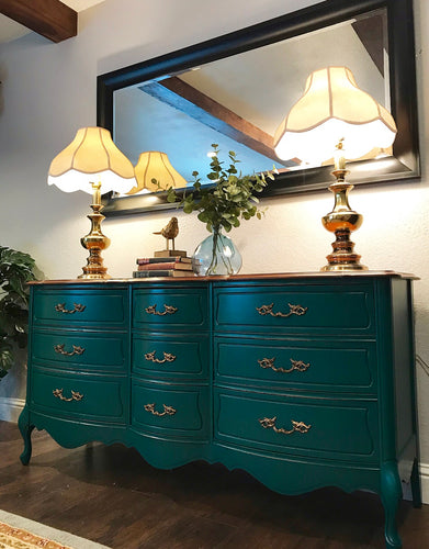 Gogeous Vintage French Country Dresser/Media/Entryway/Buffet with Beautiful Details and Hardware. Perfect STATEMENT French Piece!!!