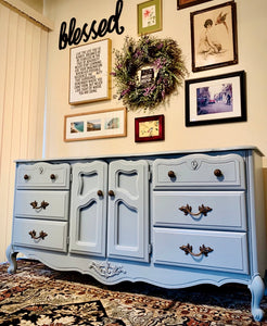 (SOLD) Beautiful and Newly ReDesigned MODERN FRENCH-FARMHOUSE DRESSER in Powder Blue. Perfect All Purpose Beauty!!!
