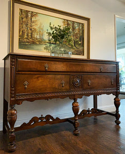 (SOLD) Gorgeous Vintage Jacobean Buffet/Media/Entryway/Sofa Table/Console with Beautiful Details and Wood Grain. Perfect Piece for Vintage Collector and Wood Lover!!