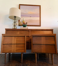 Load image into Gallery viewer, (SOLD) Stunning High-End Ward Danish Mid Century Modern Bedroom Set Dresser, Chest, 2 Nightstands, Mirror and Queen Headboard in NEW Like Condition. Perfect Danish MCM Beauties!!