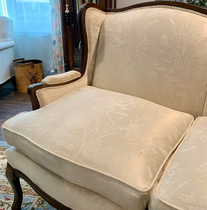(SOLD) Gorgeous Vintage French Country Loveseat with Beautiful Dark Walnut Wood and Cream-Light Tan White Floral Satin Fabric in Superb Condition!!!