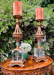 (SOLD) Stunning Large Pair of Vintage Heavy Duty Hollywood Regency with Swarovski Crystal Candle Holder in Excellent Condition!!