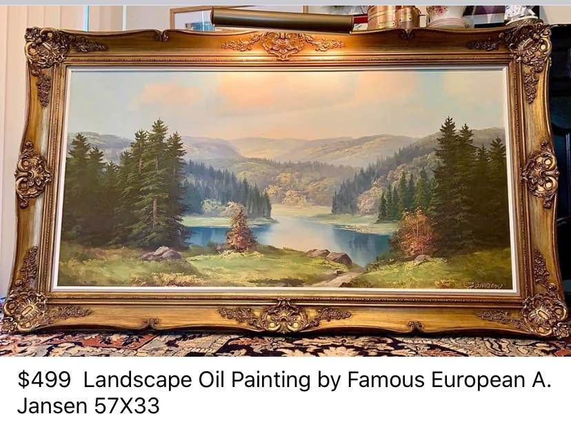 (SOLD) Gorgeous High-End Large Vintage Landscape Original Oil Painting by A. Jansen
