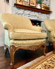 Load image into Gallery viewer, (SOLD) STUNNER 2PC French Chateau Style Decorative/Accent Chairs with French Louis XV Rococco Wood Weathered Legs in Excellent Like NEW Condition!!