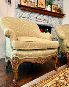 (SOLD) STUNNER 2PC French Chateau Style Decorative/Accent Chairs with French Louis XV Rococco Wood Weathered Legs in Excellent Like NEW Condition!!