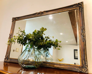 (SOLD) GORGEOUS Vintage High-End Bassett Multi-Toned (black, gray, antique gold) Large French Chateau Decorative Mirror in Excellent Condition!!