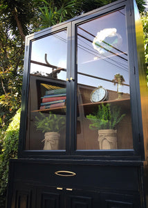 (SOLD) Gorgeous Newly ReDesigned Restoration Hardware inspired Mid-Century Modern Hutch/China/Bookcase/Display/Bathroom Cabinet with Beautiful Design!! 68X36X15