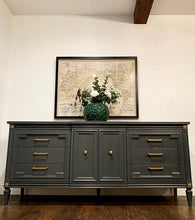 Load image into Gallery viewer, (SOLD) Gorgeous 2PC Modern French Regency Dresser/Media/Buffet/Entryway with matching Tremeau Decorative Mirror with Beautiful Design!!