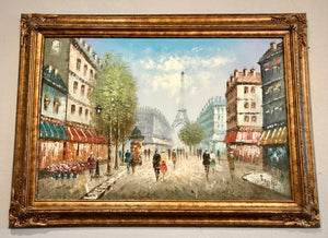 (SOLD) Gorgeous C. Burnett Paris France Oil Painting in Beautiful Detailed Frame!!