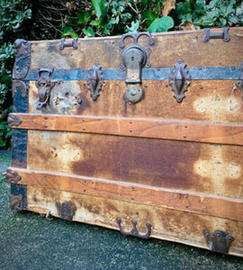 (SOLD) Gorgeous 1910s Antique Trunk. This piece can serve as Coffee Table, Bed-End Table, Storage or Home Decor!! BEAUTY and HISTORY indeed!