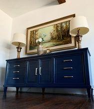 Load image into Gallery viewer, (SOLD) Beautiful Newly ReDesigned High-End Century Brand 3PC MID CENTURY MODERN Dresser and 2 Nightstands in Navy Blue!!!  BEAUTIES!!