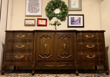 Load image into Gallery viewer, (SOLD) Gorgeous Vintage 1960s French Country Dresser/Media/Entryway/Buffet/Sofa Table/Credenza with Beautiful Design and All Original Brass Hardware. Perfect Versatile BEAUTY!!!