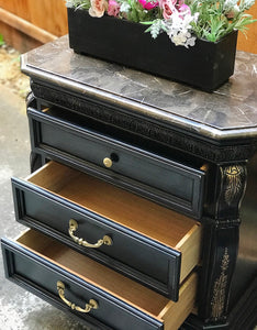 (SOLD) Gorgeous Marble Top Victorian End-Side Table/Nighstand/Entryway/Corner Display Piece with Beautiful Details!!