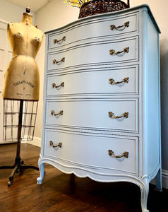 (SOLD) GORGEOUS and Newly ReDesigned High-End Drexel Serpentine French Modern Chest of Drawers in Powder Blue!! Perfect STATEMENT BEAUTY!!!