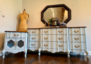 (SOLD) Gorgeous 2PC Modern French Country Dresser and Nightstand in Powder Blue and Excellent Condition. They are Perfect French BEAUTIES indeed!!