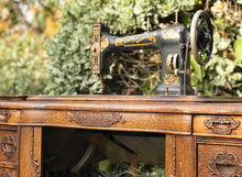 Load image into Gallery viewer, (SOLD) Stunning 1908 Antique White Rotary Sewing Machine and Table with Beautiful Handcarved Details and Heavy Duty Solid Tiger Oak Wood!!