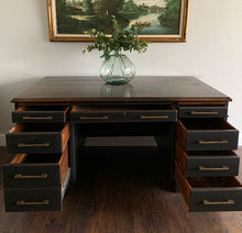 Load image into Gallery viewer, (SOLD) Black STUNNER Restoration  Hardware inspired Large Desk  in Superb Condition. This is a STATEMENT Desk Perfect for MCM and Wood Lover!!!