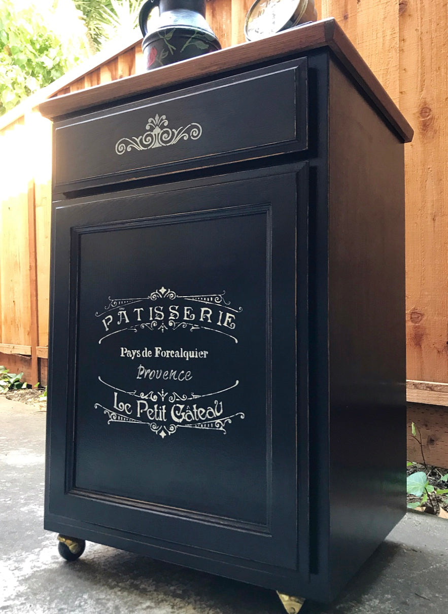 (SOLD) Gorgeous Versatile French-Farmhouse inspired Rolling Storage Cabinet/Coffee Bar/Mini Island/Corner Display Piece in Excellent Condition!!