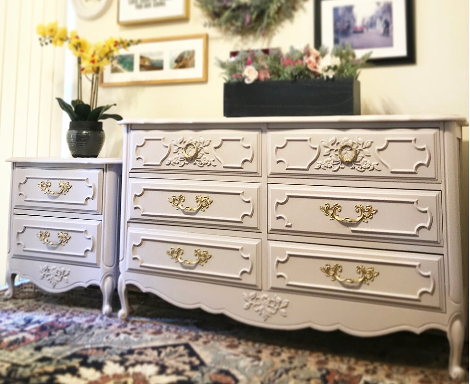 (SOLD) Gorgeous Vintage French Country Dresser and Nightstand with Beautiful Details and Great Condition!! Perfect BEAUTIES!!