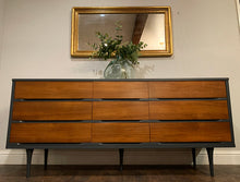Load image into Gallery viewer, (SOLD) Simply Beautiful 3PC Set Danish Mid Century Modern 9Drawer Dresser and 2 Nighstands in Superb Condition. Perfect Modernized BEAUTIES!!