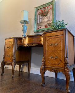 (SOLD) Stunning 1940s French-Victorian Vanity Desk with Custom Built Glass Top, Gorgeous Details and Original Hardware!!