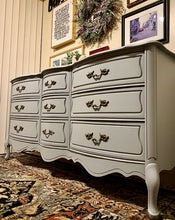 Load image into Gallery viewer, (SOLD) BEAUTIFUL High-End Broyhill Modern French Country DRESSER in Light Gray and Superb Condition!! Perfect Versatile Piece any room in your Nest!!