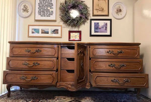 (SOLD) Gorgeous Vintage High-End Thomasville XLarge French Country Dresser/Media/Buffet/Console/Entryway with Beautiful Details and All Original Hardware!!