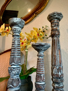 (SOLD) Gorgeous White Wash French-Farmhouse inspired Decorative Like New 3PC Tall Candle Holders!!