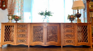 (SOLD) Gorgeous Like NEW Custom Built 10FT Media/Entryway/Buffet/Credenza in Like NEW Condition!!! Heavy Duty Solid Wood 120X33X2