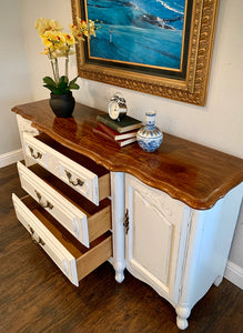 (SOLD) Gorgeous Vintage French Country-Farmhouse inspired Buffet/Credenza/Entryway/Dresser/Console with Beautiful Details and Hardware!!