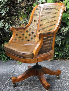 (SOLD) Gorgeous Vintage Leather Cane Executive Chair in Excellent Condition. Perfect Solid and Comfortable Vintage Chair!!!