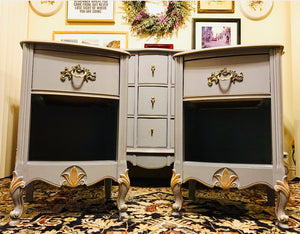 (SOLD) Gorgeous Vintage High-End Furniture Guild of California French Country Bedroom Set with Beautiful Details and Hardware!!