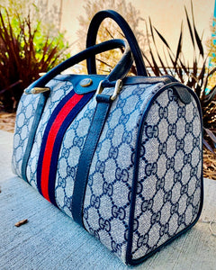 (SOLD) Gorgeous Authentic Vintage Original Monogram Web Boston GUCCI Handbag in Navy and Red Web Stripe in Great Condition!!