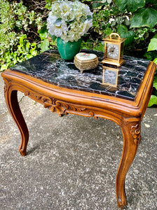 (SOLD) Gorgeous Vintage French Victorian Parlor Chair and Marble Top Side Table with Beautiful Details in Excellent Condition!!!
