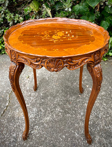 (SOLD) Stunning Vintage 1940s French Louis XV Style Decorative Table with Gorgeous Details and Floral Inlaid Top!!