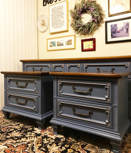 (SOLD) Gorgeous ReDesigned/Modernized Set of High-End Stanley Sienna Dresser and 2 Nightstands with Beautiful Details and Hardware!!