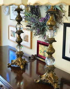 (SOLD) Gorgeous 1920s Antique Victorian Pair of Lamp with Stunning Details, Pyramid Crystal Glass Ball and Heavy Duty Solid Brass!!! 41H 16W