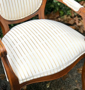(SOLD) Gorgeous High-End Harris Marcus French Louis XV Fauteuil Style Set of Accent Chairs in Antique Gold Stipes and Light Cream Fabric.