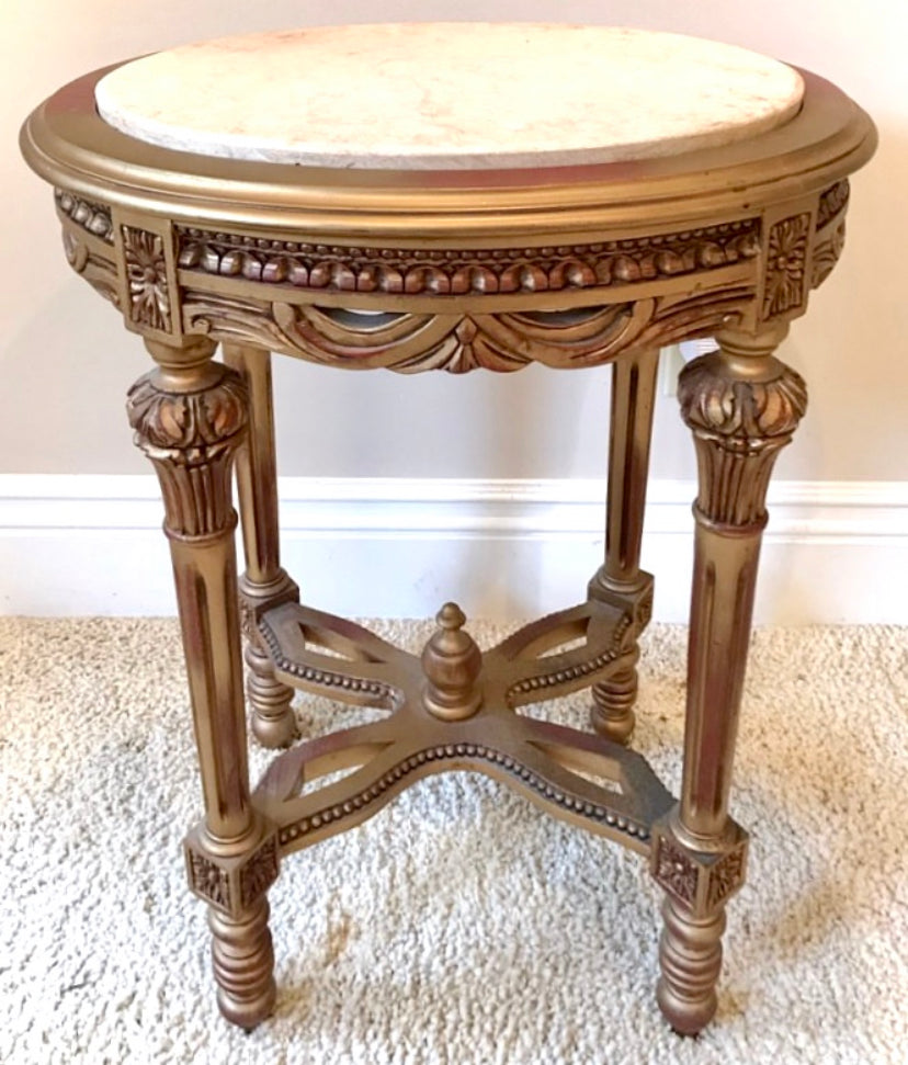 (SOLD) Stunning Vintage Ornate Victorian Marble Top Side-Table Table with Gorgoeus Details and Excellent Condition!!