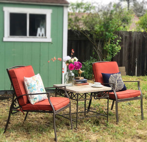 (SOLD) GORGEOUS Pacific Bay Outdoor Matal Patio Chairs (Adjustable Back!) and Marble Top Table. Perfect Outdoor Relaxation Set. They are BEAUTIES!!